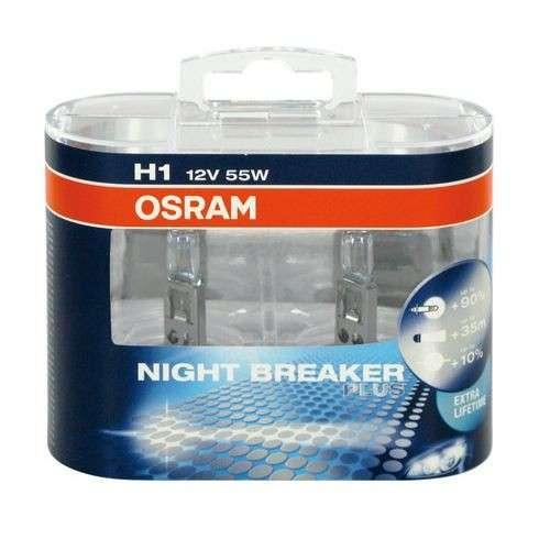osram coppia lampade per auto h1 night breaker plus. Black Bedroom Furniture Sets. Home Design Ideas