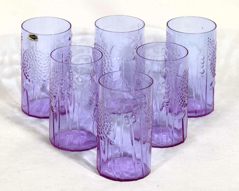 iittala oiva toikka vintage flora glasses 6 neodymium excellent condition. Black Bedroom Furniture Sets. Home Design Ideas
